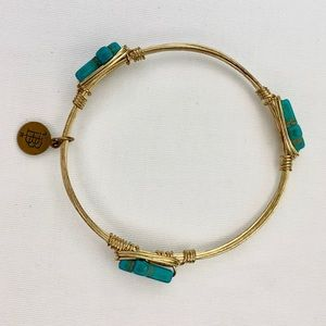 Bourbon and Bowties Gold Wire Turquoise Cross